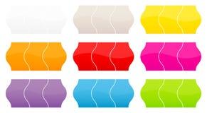 Ställ in av nio olika färger för prislappar vektor illustrationer