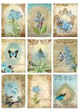 Ställ in av nio tappningstilkort märker för morgonfågel för collage blom- bilder för blå fjäril stock illustrationer