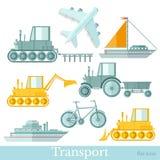 Ställ in av olik transortsinflatstil, på vit bakgrund Nivå, skepp, yacht, cykel, traktor och grävskopa vektor illustrationer