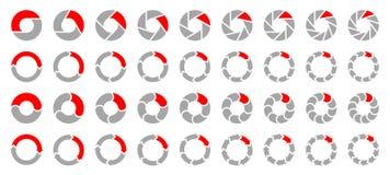 Ställ in av olika cirkeldiagrampilar Gray And Red vektor illustrationer