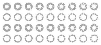 Ställ in av olika cirkeldiagrampilgrå färger stock illustrationer