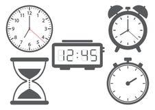 Ställ in av olika klockor också vektor för coreldrawillustration vektor illustrationer