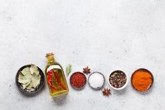 Ställ in av olika kryddor och örter arkivbild
