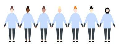 Ställ in av olika loppsportkvinnor Gullig och enkel modern plan stil royaltyfri illustrationer