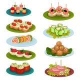 Ställ in av olika mellanmål för bankett Aptitretande mat Kulinariskt tema Plan vektor för receptbok eller restaurangmeny royaltyfri illustrationer
