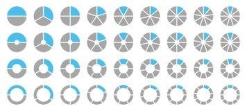 Ställ in av olika runda grafiska cirkeldiagram Gray And Blue vektor illustrationer