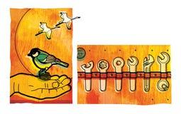 Ställ in av olika skruvnycklar och skiftnycklar Mesen sitter på gömma i handflatan av en man Kranar flyger till och med en sol- s royaltyfri illustrationer