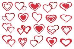 Ställ in av olika stiliserade röda hjärtor vektor illustrationer
