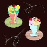 Ställ in av olika typer av glass av ljus frukt vektor illustrationer