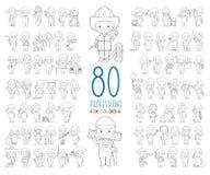 Ställ in av 80 olika yrken för att färga i tecknad filmstil vektor illustrationer