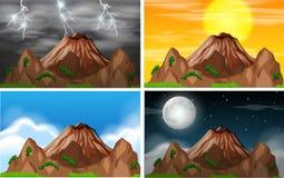 Ställ in av olikt klimat för bergsikt vektor illustrationer