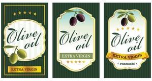 Ställ in av olivoljaetikettmallar royaltyfri illustrationer