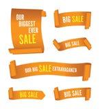 Ställ in av orange försäljningsbaner vektor illustrationer