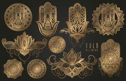 Ställ in av orientaliska beståndsdelar för religiös buddism av guld- färg Hamsa amulett, mandala, lotusblommablomma Guld- lutning royaltyfri illustrationer