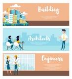 Ställ in av orienteringen av staden och arkitekten stock illustrationer