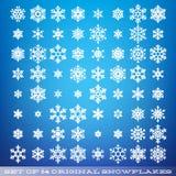 Ställ in av 64 original- härliga snöflingor Grafiskt vinterobjekt Julsnösymbol Beståndsdel för snöflingakristall 10 eps vektor illustrationer