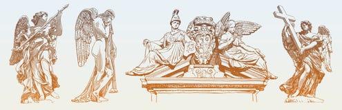 Ställ in av original skissar den digitala teckningen av marmorerar statyn royaltyfri illustrationer