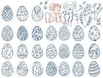 Ställ in av påskägg, lycklig påsk E royaltyfri illustrationer