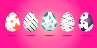 Ställ in av påskägg på trevlig rosa bakgrund stock illustrationer