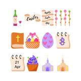 Ställ in av påsksymboler för ferien av påsken också vektor för coreldrawillustration stock illustrationer