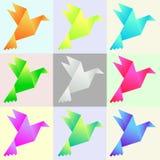 Ställ in av pappers- duvor för vektorfärg vektor illustrationer