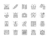 Ställ in av partilinjesymboler Beröm Firecracker, girlander, krona och mer stock illustrationer