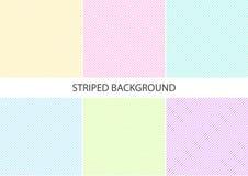 Ställ in av pastellfärgad randig modell med färgrika diagonala parallella fortlöpande linjer på vit bakgrund, pastellfärgade färg vektor illustrationer