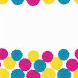 Ställ in av pastellfärgad retro bohopompomknyck från ull, kopplingen i magentafärgat, turkos och guling Bordure i rad royaltyfri illustrationer