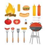 Ställ in av picknickmatmellanmålet med grillat royaltyfri illustrationer
