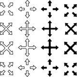 Ställ in av pilar som pekar till olika riktningar stock illustrationer