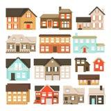 Ställ in av PIXELhus som isoleras på vit bakgrund Diagram för lekar bit 8 Vektorillustration i PIXELkonststil stock illustrationer