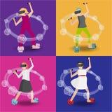 Ställ in av plaing kvinnlig för vr, träddimenionrpg som spelar med dic d20 stock illustrationer