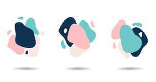 Ställ in av plan färgrik formsammansättning med färgstänk och utrymme vektor illustrationer