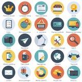 Ställ in av plana designsymboler för E-kommers, lön per klickmarknadsföring, seo, svars- rengöringsdukdesign, anseendeledning och royaltyfri illustrationer