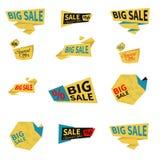 Ställ in av plana försäljningsklistermärkear klar vektor för nedladdningillustrationbild royaltyfri illustrationer