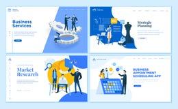Ställ in av plana mallar för designaffärswebbsida stock illustrationer
