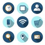 Ställ in av plana symboler för rengöringsduken, vektor Symbol för lägenhet Wi-Fi Symbol för lägenhet för shoppingkorg Smartphone  royaltyfri illustrationer