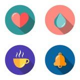 Ställ in av 4 plana symboler - hjärta, droppe, koppen, klocka stock illustrationer