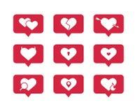 Ställ in av plana vektorsymboler av hjärtor stock illustrationer