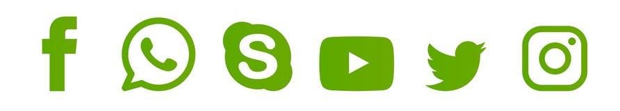 Ställ in av populära sociala massmedialogoer, symboler Instagram, Facebook, Twitter, Youtube, WhatsApp, stock illustrationer