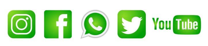 Ställ in av populära sociala massmedialogosymboler i grön Instagram Facebook Twitter Youtube WhatsApp beståndsdelvektor på vit ba stock illustrationer