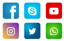 Ställ in av populära sociala massmedialogosymboler, Instagram Facebook Twitter Youtube WhatsApp beståndsdelvektor stock illustrationer
