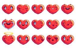 Ställ in av 15 positiva sinnesrörelser som hjärta formade PIXELkonstemoji i röd färg royaltyfri bild