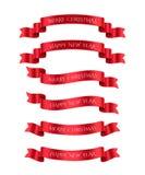 Ställ in av röda band med texter för glad jul och för det lyckliga nya året den lätta designen redigerar element till vektorn vektor illustrationer