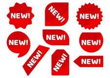 Ställ in av röda klistermärkear och att annonsera baner med den NYA vita inskriften vektor royaltyfri illustrationer