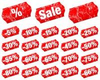 Ställ in av röda prislappar Sale negativ delat med skrapor royaltyfri illustrationer