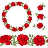Ställ in av röda rosor planlägger beståndsdelar och objekt stock illustrationer