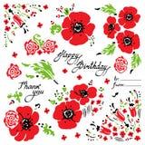 Ställ in av röda vallmo och vildblommor f?delsedagkort skapar lyckliga bildinbjudningar f?r h?lsning mitt liknande f?r portf?lj f royaltyfri illustrationer