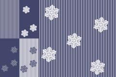 Ställ in av randiga modeller med snöflingor i blåa och vita signaler Vektorvinterdesign royaltyfri illustrationer