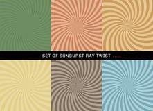 Ställ in av retro stil för starburstvridningbakgrund Samling av radiellt grönt för abstrakt sunburst stråle, gult, blått, brunt,  vektor illustrationer